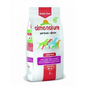 Almo Nature Grain Free Pork and Potatoes M-L сухой беззерновой корм для собак средних и крупных пород
