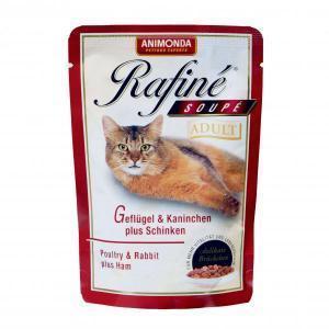 Animonda Rafine Soupe Adult консервы для кошек из мяса домашней птицы, кролика и ветчины 100 г х 24 шт