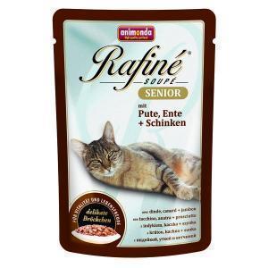 Animonda Rafiné Soupé Senior консервы для кошек старше 7 лет из мяса индейки, утки и ветчины 100 г (24 штуки)