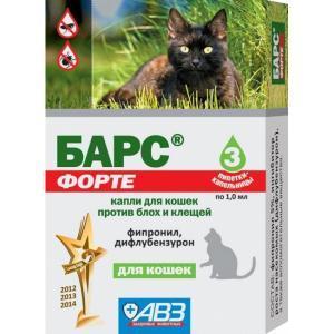 Барс Форте капли инсектоакарицидные для кошек
