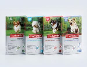 Bayer Advantix капли на холку от блох и клещей для собак (4 пипетки)