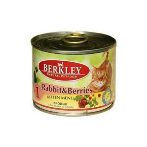 Berkley #1 Rabbit with Forest Berries for Kitten консервы для котят с кроликом и ягодами 200 г (6 штук)
