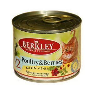 Berkley #2 Poultry with Forest Berries for Kitten консервы для котят с птицей и ягодами 200 г (6 штук)