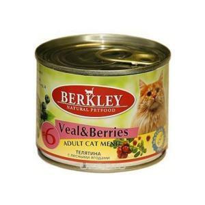 Berkley 6 Veal with Forest Berries for Adult Cat консервы для кошек с телятиной и лесными ягодами 200 г (6 штук)