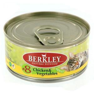 Berkley Chicken & Vegetables Cat №8 консервы для кошек с курицей и овощами 100 г (6 штук)