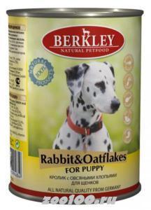 Berkley консервы для щенков Кролик с овсяными хлопьями 400г