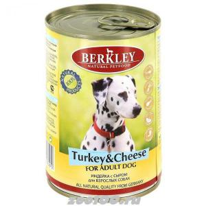 Berkley консервы для взрослых собак Индейка с сыром 400г