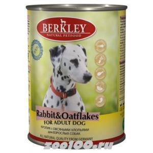 Berkley консервы для взрослых собак Кролик с овсяными хлопьями 400г