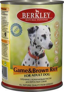 Berkley консервы для взрослых собак Оленина и коричневый рис 400г