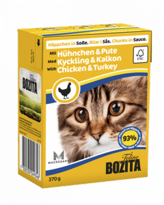 Bozita консервы для кошек кусочки в соусе Курица с индейкой 370 г