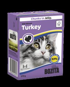 Bozita консервы для кошек кусочки в желе Рубленая индейка 370 г