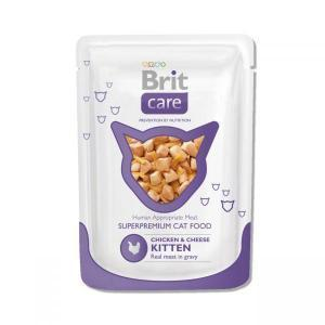 Brit Care Cat Pouches Chicken & Cheese Kitten консервы для котят с курицей и сыром 80 г (24 штуки)