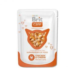 Brit Care Cat Pouches Chicken & Cheese консервы для кошек с курицей и сыром 80 г (24 штуки)