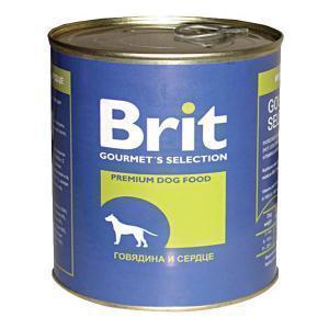 Brit консервы для собак Говядина и сердце 850г