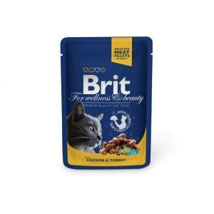 Brit кусочки c курицей и индейкой для кошек 100 г (24 штуки)