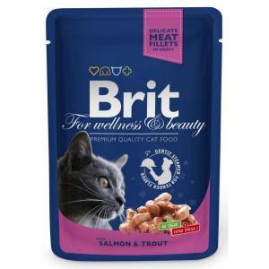 Brit кусочки с лососем и форелью для кошек 100 г (24 штуки)