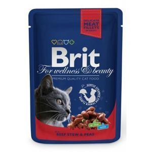 Brit кусочки с рагу из говядины и горошком для кошек 100 г (24 штуки)