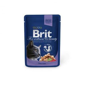 Brit кусочки с треской для кошек 100 г (24 штуки)
