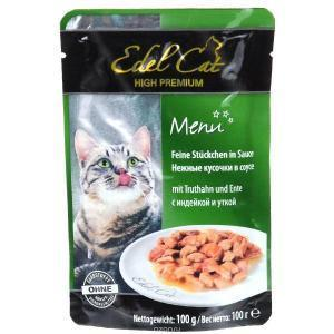 Edel Cat консервы для кошек с индейкой и уткой 100 г (20 штук)