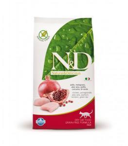 Farmina N&D Chicken & Pomegranate adult Cat сухой беззерновой корм с курицей и гранатом для кошек 10 кг