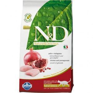 Farmina N&D Chicken & Pomegranate Neutered Cat сухой беззерновой корм для профилактики МКБ с курицей и гранатом 10 кг