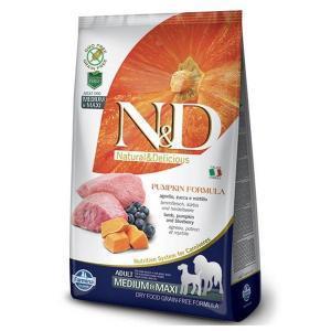 Farmina N&D GF Adult Medium & Maxi беззерновой сухой корм ягненок, черника и тыква для собак средних и крупных пород 12 кг