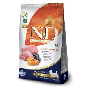 Farmina N&D GF Adult Mini беззерновой сухой корм ягненок, черника и тыква для собак маленьких пород 12 кг