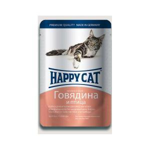 Happy Cat консервы для кошек с говядиной и птицей 100 г (22 штуки)