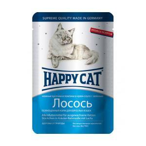 Happy Cat консервы для кошек с лососем 100 г (22 штуки)