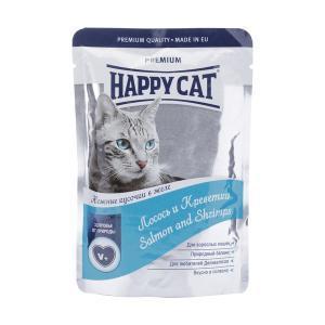 Happy Cat консервы для кошек с лососем и креветками 100 г (22 штуки)