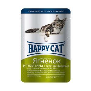 Happy Cat консервы для кошек с ягненком и телятиной 100 г (22 штуки)
