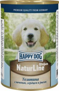 Happy Dog консервы для щенков с телятиной, печенью, сердцем, рисом 400г