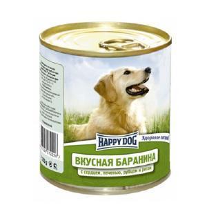 Happy Dog консервы для собак Вкусная баранина с сердцем, печенью, рубцом и рисом 750 г (12 штук)