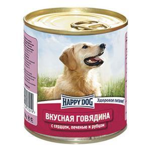 Happy Dog консервы для собак Вкусная говядина с сердцем, печенью и рубцом 750 г (12 штук)