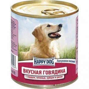 Happy Dog консервы для собак Вкусная говядина с сердцем, печенью, рубцом и рисом 750 г (12 штук)