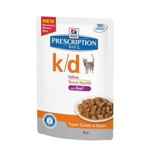 Hills Feline k/d with Beef лечебные консервы для кошек с говядиной при заболеваниях почек 85 г (12 штук)