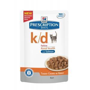 Hills Feline k/d with salmon лечебные консервы для кошек при почечной недостаточности с лососем 85 г (12 штук)