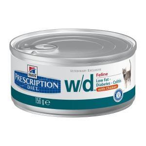 Hills Feline w/d лечебные консервы для кошек при диабете, запоре или колитах 156 г