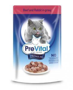 PreVital classic влажный корм для кошек Говядина с кроликом в соусе 100г*24шт