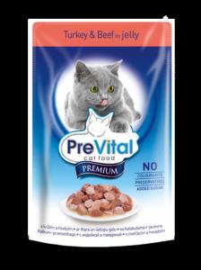 PreVital classic влажный корм для кошек Индейка с говядиной в желе 100г*24шт