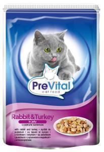 PreVital classic влажный корм для кошек Кролик с индейкой в желе 100г*24шт