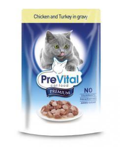 PreVital classic влажный корм для кошек Курица с индейкой в соусе 100г*24шт
