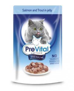 PreVital classic влажный корм для кошек Лосось с форелью в желе 100г*24шт