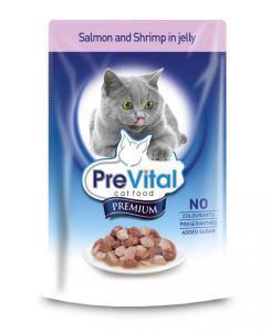 PreVital classic влажный корм для кошек Лосось с креветками в желе 100г*24шт