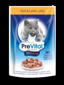 PreVital classic влажный корм для кошек Утка с ягненком в желе 100г*24шт