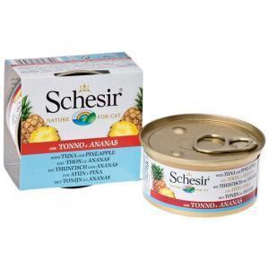 Schesir with Tuna and Pineapple консервы для кошек с тунцом и ананасом 75 г (14 штук)
