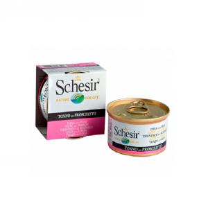 Schesir with Tuna with ham консервы для кошек с тунцом и ветчиной 85 г (14 штук)