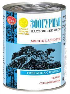Зоогурман консервы для собак Мясное ассорти говядина и птица 350г*20шт