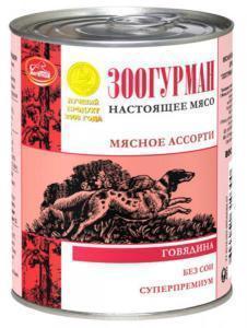 Зоогурман консервы для собак Мясное ассорти с говядиной 350г*20шт