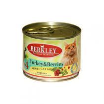Berkley #4 Turkey with Forest Berries for Adult Cat консервы для кошек с индейкой и ягодами 200 г (6 штук)